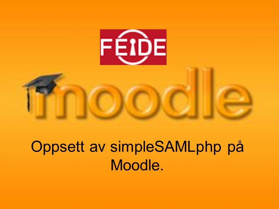 Sende inn metada Ta kopi av metadata som du finner på: https://sp.example.org/simplesaml/module.php/co re/frontpage_federation.phphttps://sp.example.org/simplesaml/module.php/co re/frontpage_federation.php og send inn til moria-support@uninett.no ellermoria-support@uninett.no support@feide.no