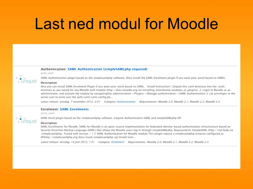 Last ned modul for Moodle