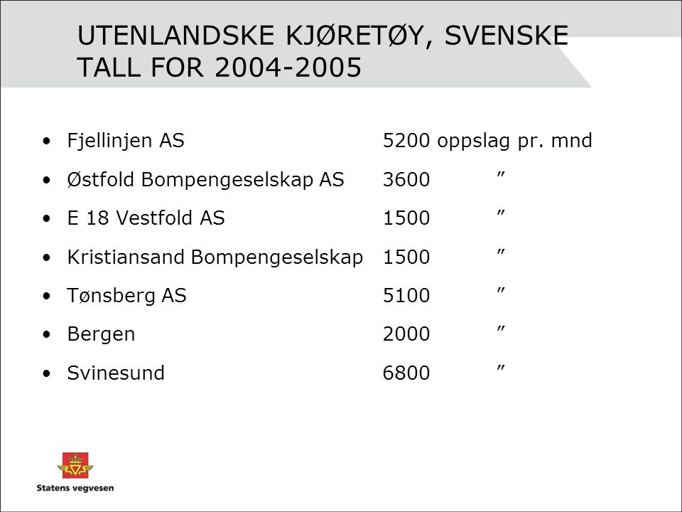 UTENLANDSKE KJØRETØY, SVENSKE TALL FOR 2004-2005 Fjellinjen AS5200 oppslag pr.