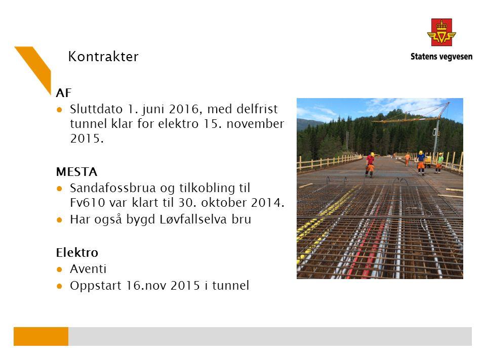 Kontrakter AF ● Sluttdato 1. juni 2016, med delfrist tunnel klar for elektro 15.