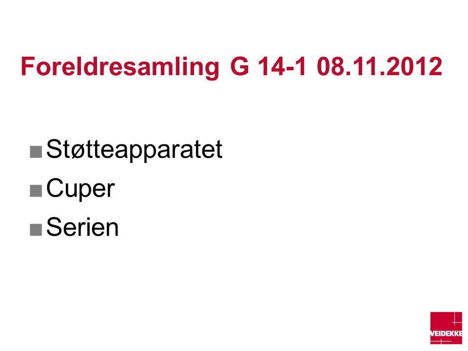 Foreldresamling G 14-1 08.11.2012 ■Støtteapparatet ■Cuper ■Serien