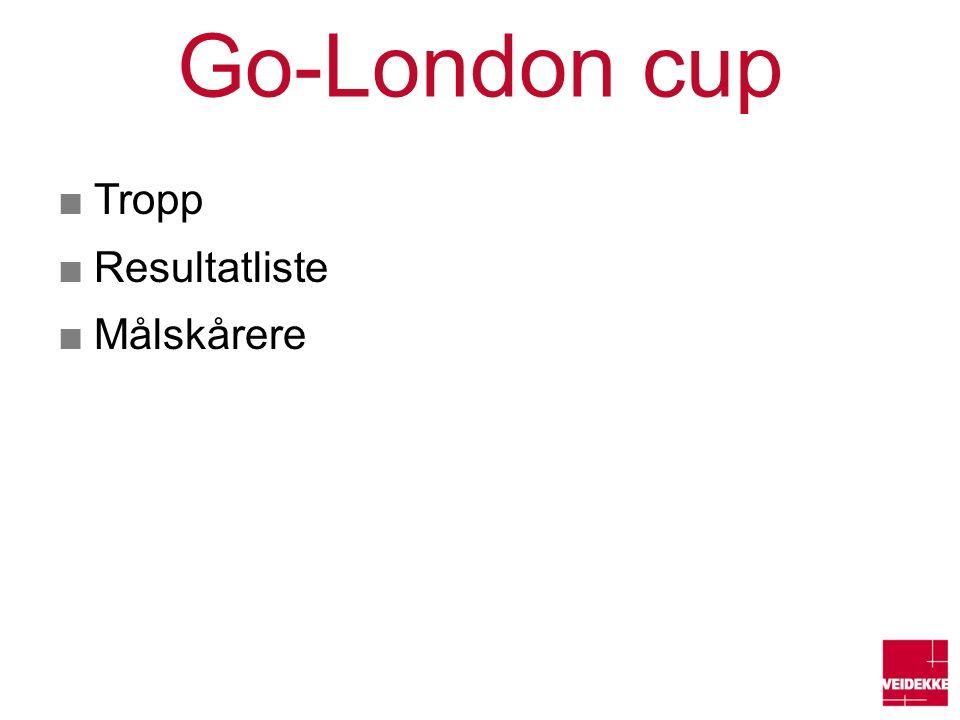 Go-London cup ■Tropp ■Resultatliste ■Målskårere