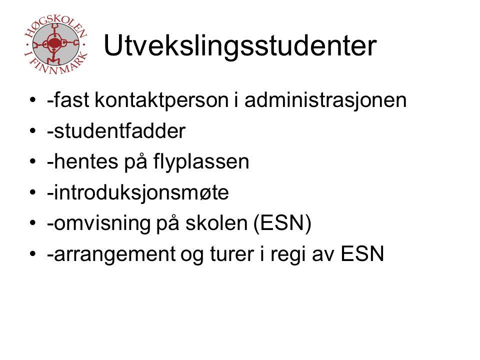 Kvotestudenter -samme som for utvekslingsstudenter -norsk for utenlandske studenter -dedikert kontaktperson -russisktalende kontaktperson for russiske studenter