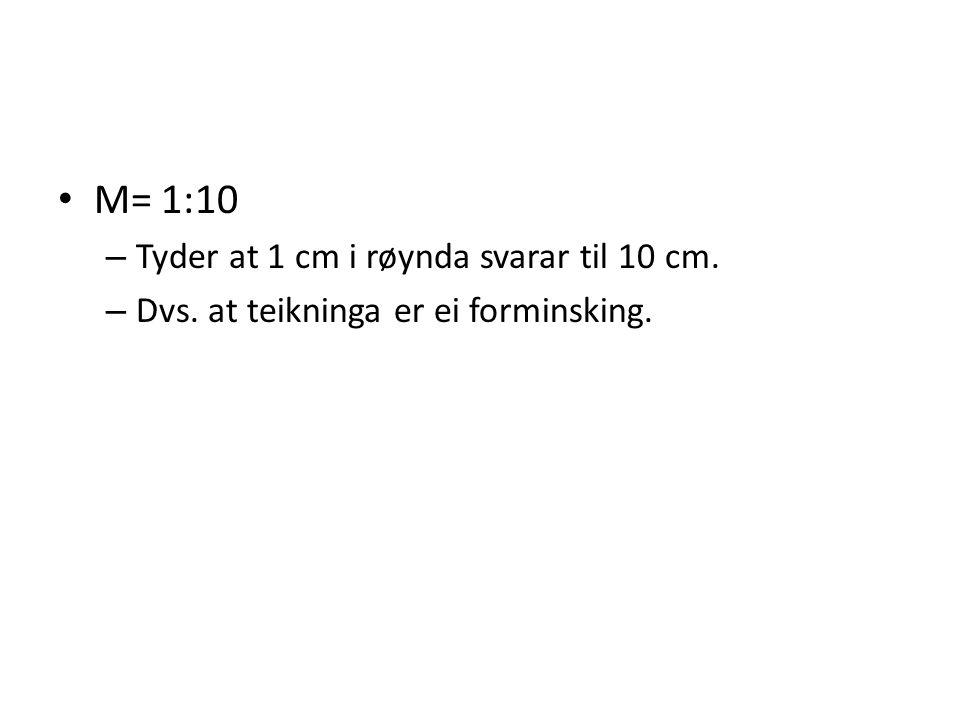 M= 1:10 – Tyder at 1 cm i røynda svarar til 10 cm. – Dvs. at teikninga er ei forminsking.