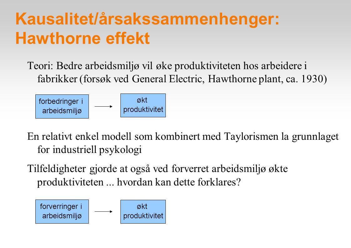 Kausalitet/årsakssammenhenger: Hawthorne effekt Teori: Bedre arbeidsmiljø vil øke produktiviteten hos arbeidere i fabrikker (forsøk ved General Electr