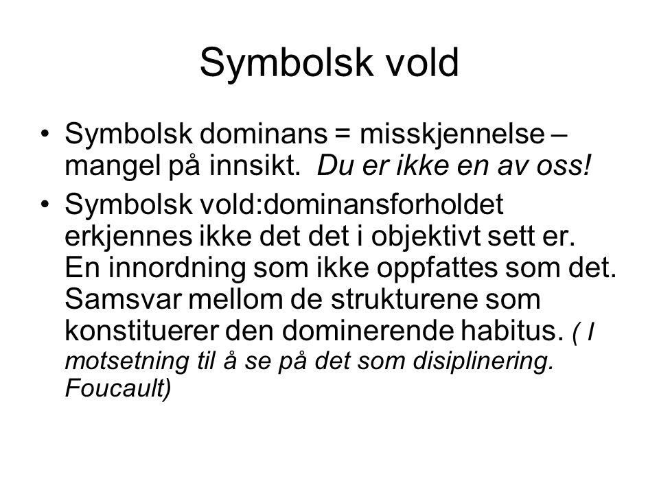 Symbolsk vold Symbolsk dominans = misskjennelse – mangel på innsikt. Du er ikke en av oss! Symbolsk vold:dominansforholdet erkjennes ikke det det i ob