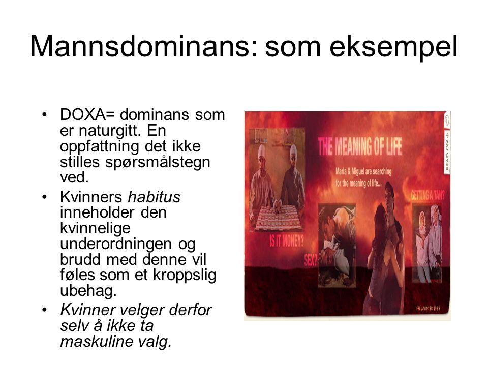 Mannsdominans: som eksempel DOXA= dominans som er naturgitt. En oppfattning det ikke stilles spørsmålstegn ved. Kvinners habitus inneholder den kvinne