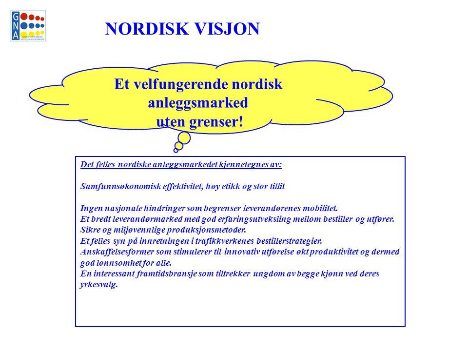 Et velfungerende nordisk anleggsmarked uten grenser! Det felles nordiske anleggsmarkedet kjennetegnes av: Samfunnsøkonomisk effektivitet, høy etikk og