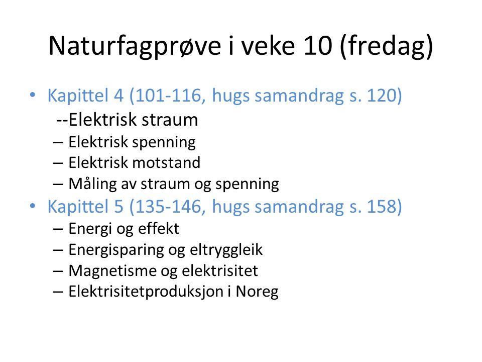 Naturfagprøve i veke 10 (fredag) Kapittel 4 (101-116, hugs samandrag s. 120) --Elektrisk straum – Elektrisk spenning – Elektrisk motstand – Måling av