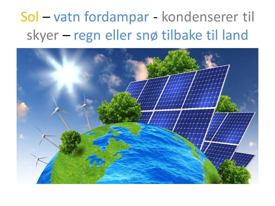 Sol – vatn fordampar - kondenserer til skyer – regn eller snø tilbake til land
