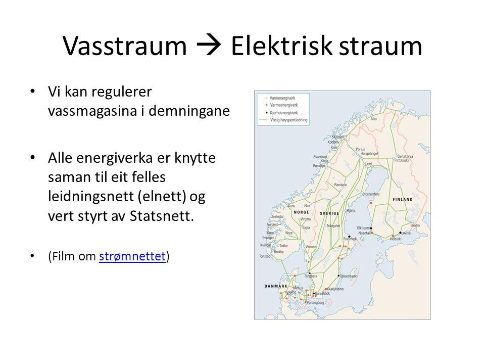 Vasstraum  Elektrisk straum Vi kan regulerer vassmagasina i demningane Alle energiverka er knytte saman til eit felles leidningsnett (elnett) og vert
