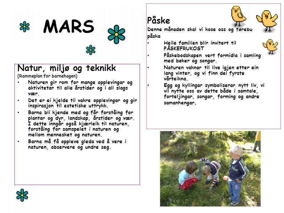 MARS Natur, miljø og teknikk (Rammeplan for barnehagen) Naturen gir rom for mange opplevingar og aktivitetar til alle årstider og i all slags vær. Det