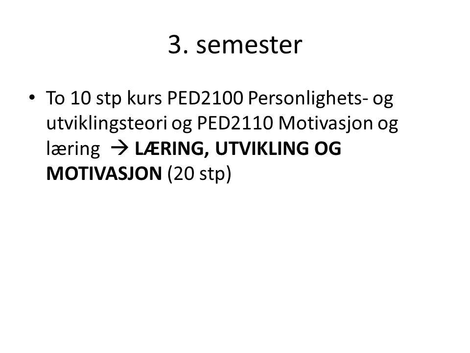 3. semester To 10 stp kurs PED2100 Personlighets- og utviklingsteori og PED2110 Motivasjon og læring  LÆRING, UTVIKLING OG MOTIVASJON (20 stp)