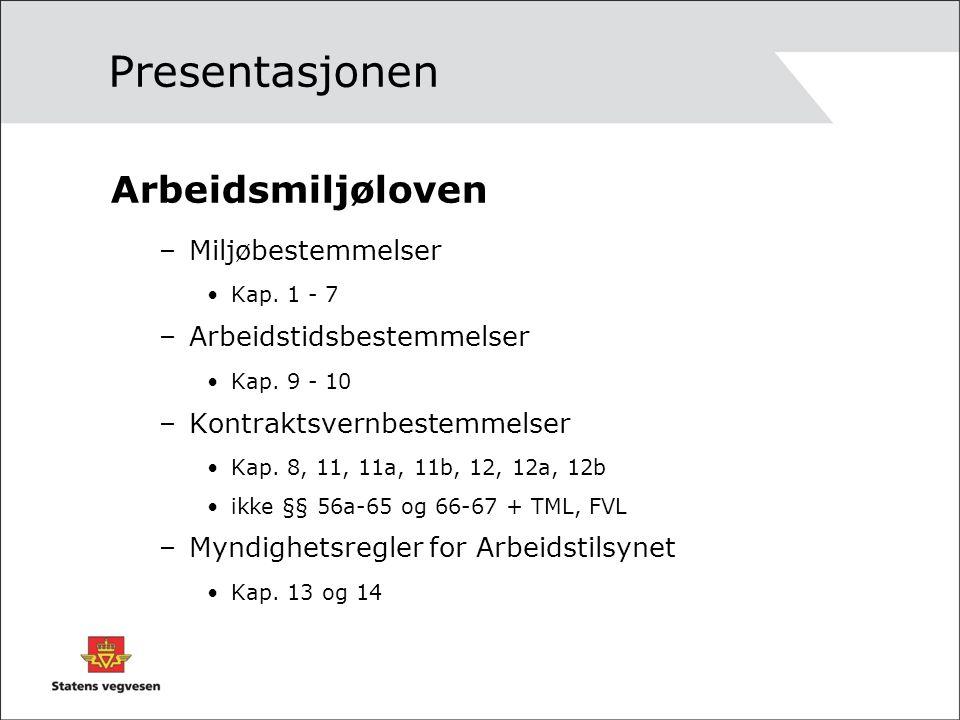 Presentasjonen Arbeidsmiljøloven –Miljøbestemmelser Kap. 1 - 7 –Arbeidstidsbestemmelser Kap. 9 - 10 –Kontraktsvernbestemmelser Kap. 8, 11, 11a, 11b, 1