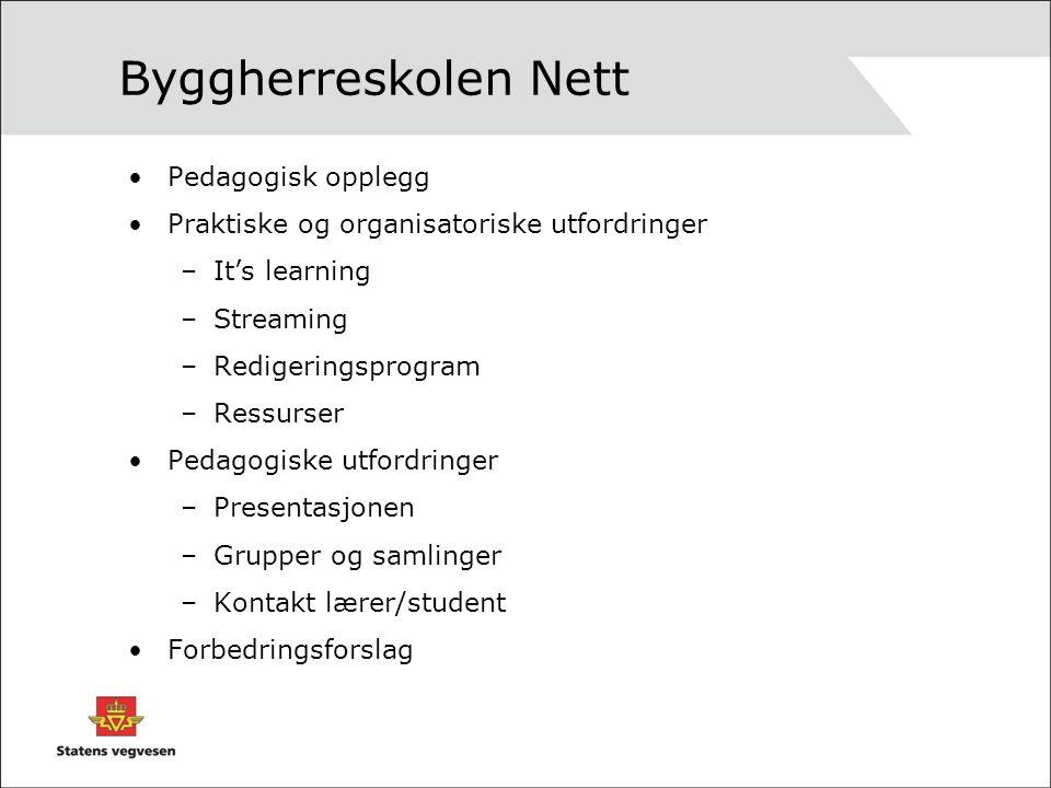 Byggherreskolen Nett Pedagogisk opplegg Praktiske og organisatoriske utfordringer –It's learning –Streaming –Redigeringsprogram –Ressurser Pedagogiske