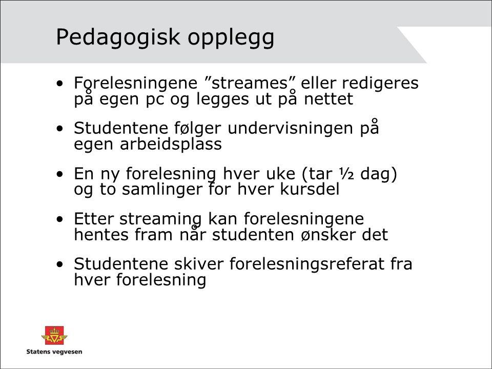 """Pedagogisk opplegg Forelesningene """"streames"""" eller redigeres på egen pc og legges ut på nettet Studentene følger undervisningen på egen arbeidsplass E"""