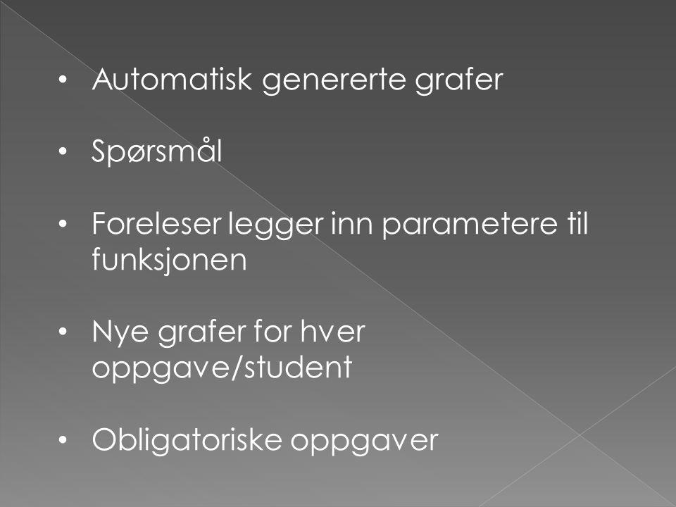 Automatisk genererte grafer Spørsmål Foreleser legger inn parametere til funksjonen Nye grafer for hver oppgave/student Obligatoriske oppgaver