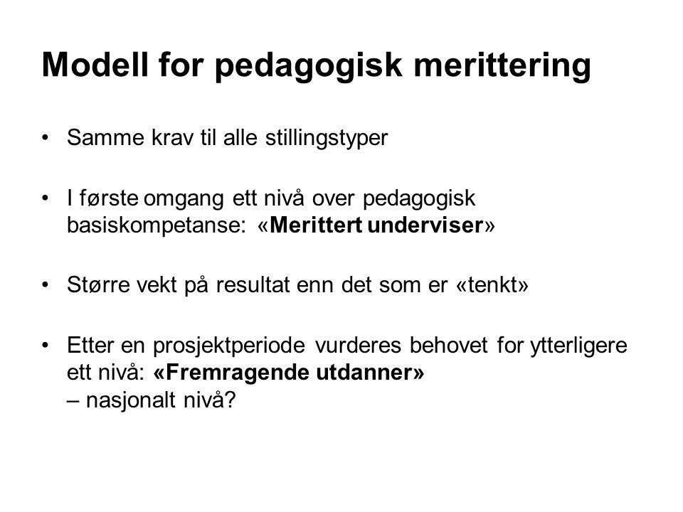 Modell for pedagogisk merittering Samme krav til alle stillingstyper I første omgang ett nivå over pedagogisk basiskompetanse: «Merittert underviser» Større vekt på resultat enn det som er «tenkt» Etter en prosjektperiode vurderes behovet for ytterligere ett nivå: «Fremragende utdanner» – nasjonalt nivå?