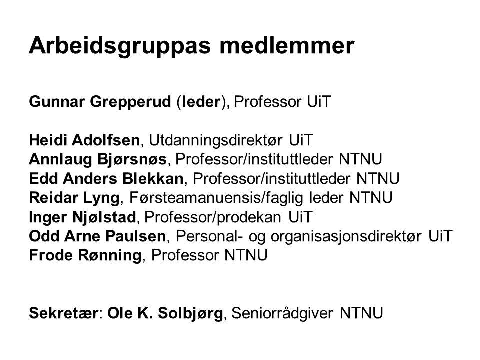 Arbeidsgruppas medlemmer Gunnar Grepperud (leder), Professor UiT Heidi Adolfsen, Utdanningsdirektør UiT Annlaug Bjørsnøs, Professor/instituttleder NTN