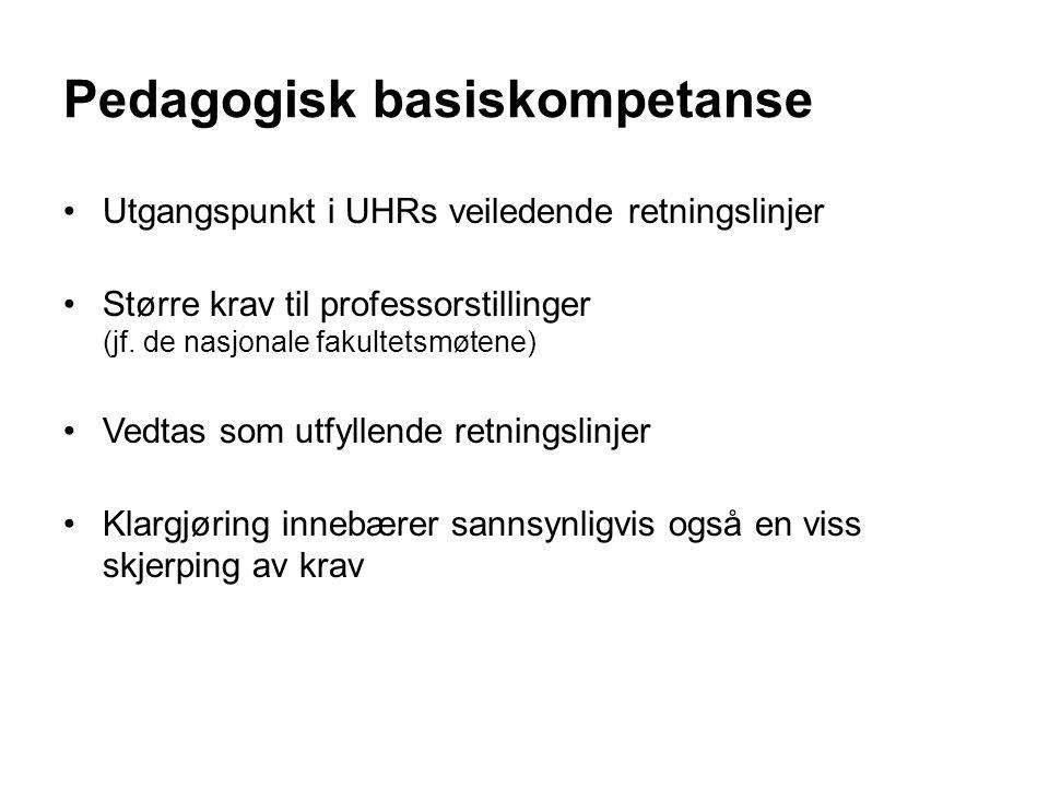 Utgangspunkt i UHRs veiledende retningslinjer Større krav til professorstillinger (jf.