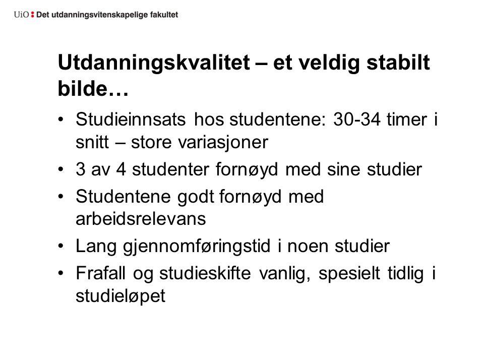 Utdanningskvalitet – et veldig stabilt bilde… Studieinnsats hos studentene: 30-34 timer i snitt – store variasjoner 3 av 4 studenter fornøyd med sine
