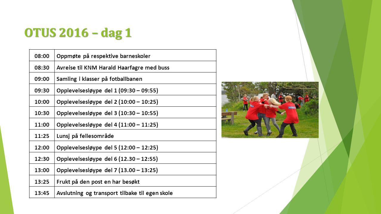 OTUS 2016 – dag 1 08:00Oppmøte på respektive barneskoler 08:30Avreise til KNM Harald Haarfagre med buss 09:00Samling i klasser på fotballbanen 09:30Opplevelsesløype del 1 (09:30 – 09:55) 10:00Opplevelsesløype del 2 (10:00 – 10:25) 10:30Opplevelsesløype del 3 (10:30 – 10:55) 11:00Opplevelsesløype del 4 (11:00 – 11:25) 11:25Lunsj på fellesområde 12:00Opplevelsesløype del 5 (12:00 – 12:25) 12:30Opplevelsesløype del 6 (12.30 – 12:55) 13:00Opplevelsesløype del 7 (13.00 – 13:25) 13:25Frukt på den post en har besøkt 13:45Avslutning og transport tilbake til egen skole
