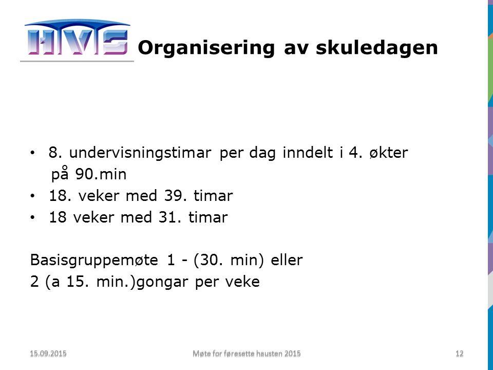 Organisering av skuledagen 8. undervisningstimar per dag inndelt i 4.
