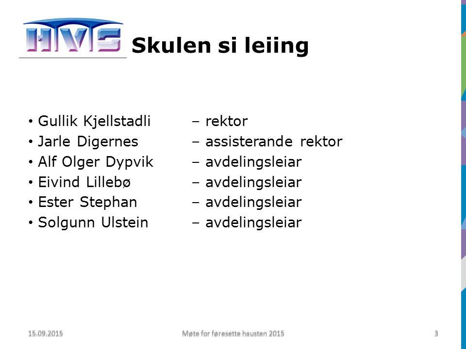 Organisasjonskart 15.09.2015 Møte for føresette hausten 2015 4 4 Rektor Gullik Kjellstadli Avd.