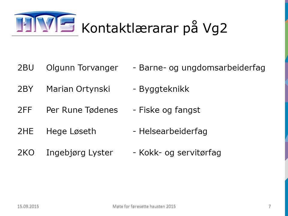 Kontaktlærarar på Vg1 2MA1Oddvar Sørdal- Maritime fag 2MA2Bodvar Skrede- Maritime fag 2IND1Jostein Skar- Industriteknologi 2IND2Vidar Holstad- Industriteknologi 15.09.2015 Møte for føresette hausten 2015 8 8