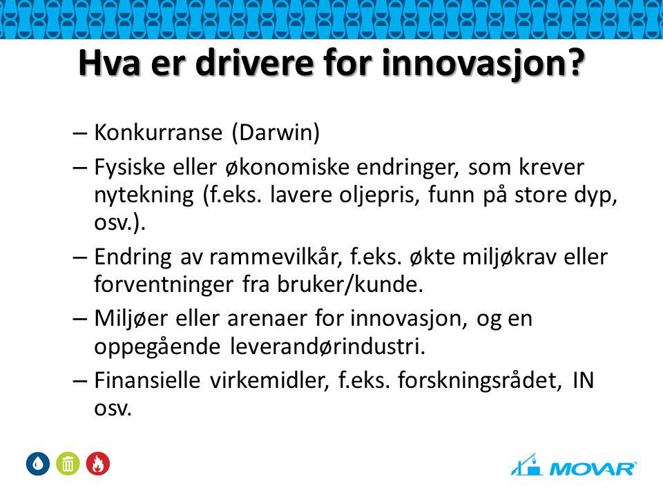 Hva er drivere for innovasjon? – Konkurranse (Darwin) – Fysiske eller økonomiske endringer, som krever nytekning (f.eks. lavere oljepris, funn på stor