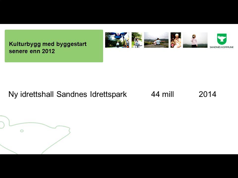 Kulturbygg med byggestart senere enn 2012 Ny idrettshall Sandnes Idrettspark44 mill2014