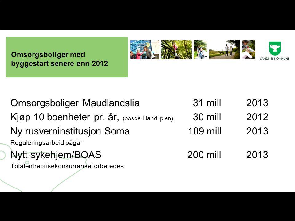 Omsorgsboliger med byggestart senere enn 2012 Omsorgsboliger Maudlandslia 31 mill2013 Kjøp 10 boenheter pr.