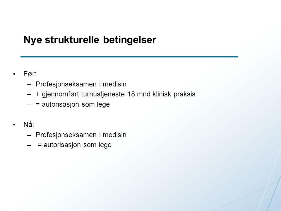 Nye strukturelle betingelser Før: –Profesjonseksamen i medisin –+ gjennomført turnustjeneste 18 mnd klinisk praksis –= autorisasjon som lege Nå: –Profesjonseksamen i medisin – = autorisasjon som lege