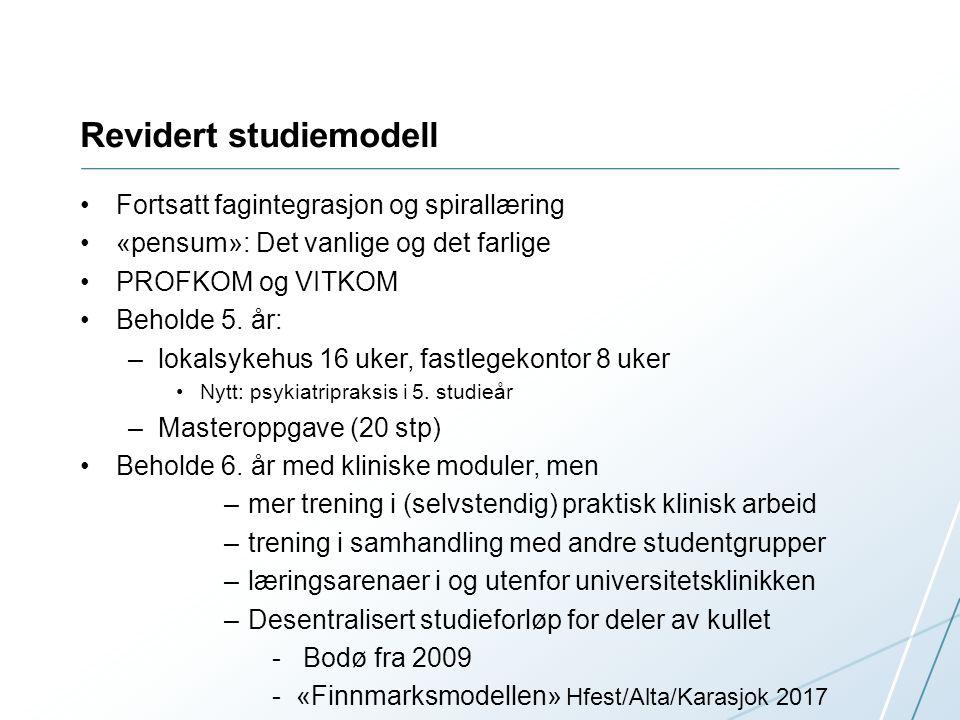 Revidert studiemodell Fortsatt fagintegrasjon og spirallæring «pensum»: Det vanlige og det farlige PROFKOM og VITKOM Beholde 5.