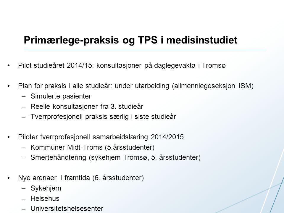 Primærlege-praksis og TPS i medisinstudiet Pilot studieåret 2014/15: konsultasjoner på daglegevakta i Tromsø Plan for praksis i alle studieår: under utarbeiding (allmennlegeseksjon ISM) –Simulerte pasienter –Reelle konsultasjoner fra 3.