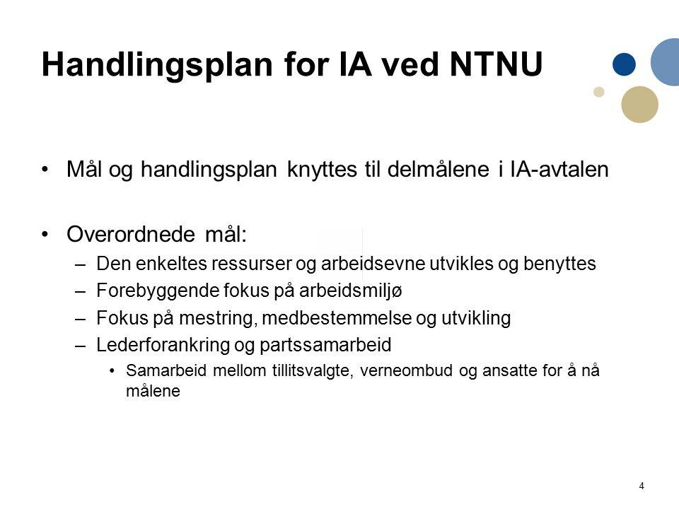 4 Handlingsplan for IA ved NTNU Mål og handlingsplan knyttes til delmålene i IA-avtalen Overordnede mål: –Den enkeltes ressurser og arbeidsevne utvikl