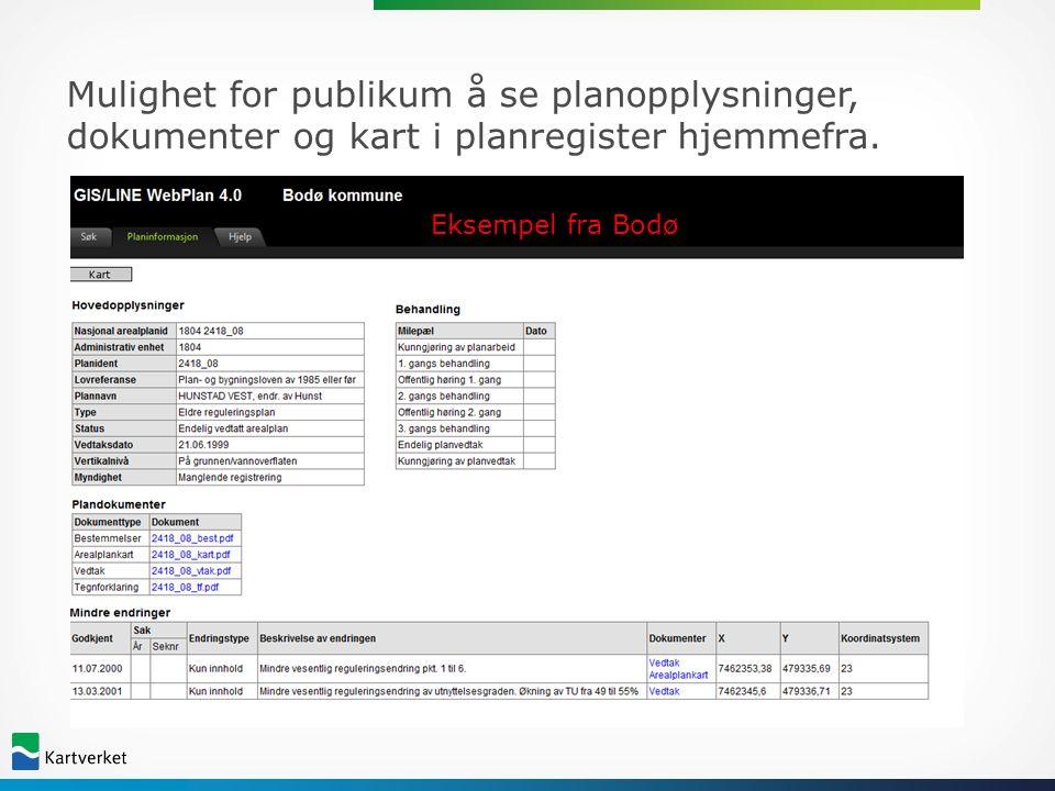 Mulighet for publikum å se planopplysninger, dokumenter og kart i planregister hjemmefra.