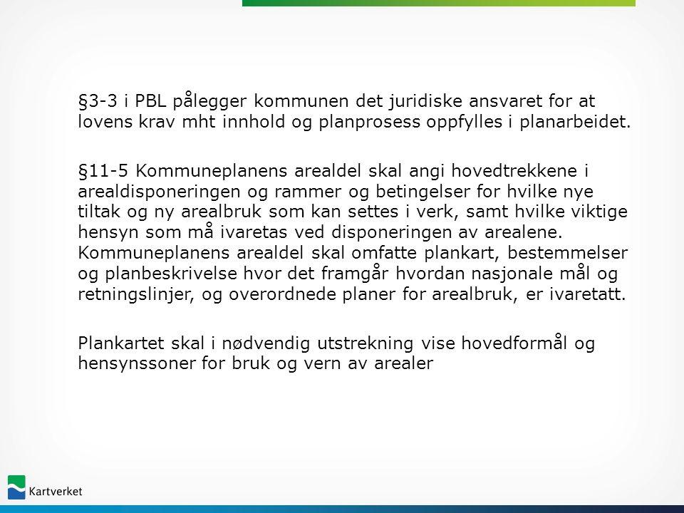 §3-3 i PBL pålegger kommunen det juridiske ansvaret for at lovens krav mht innhold og planprosess oppfylles i planarbeidet.