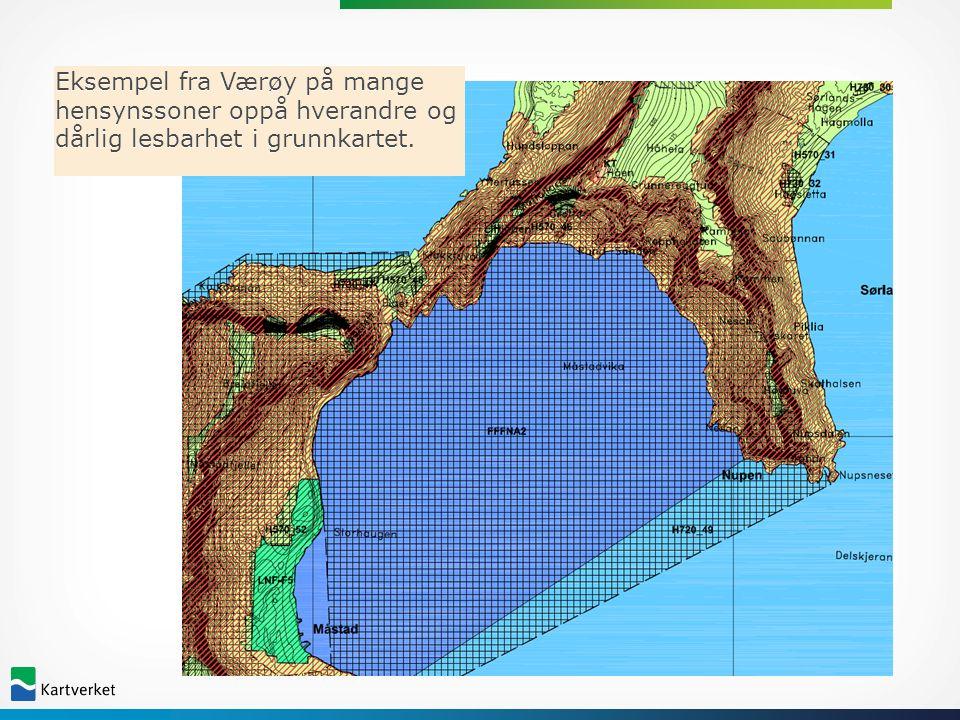 Eksempel fra Værøy på mange hensynssoner oppå hverandre og dårlig lesbarhet i grunnkartet.