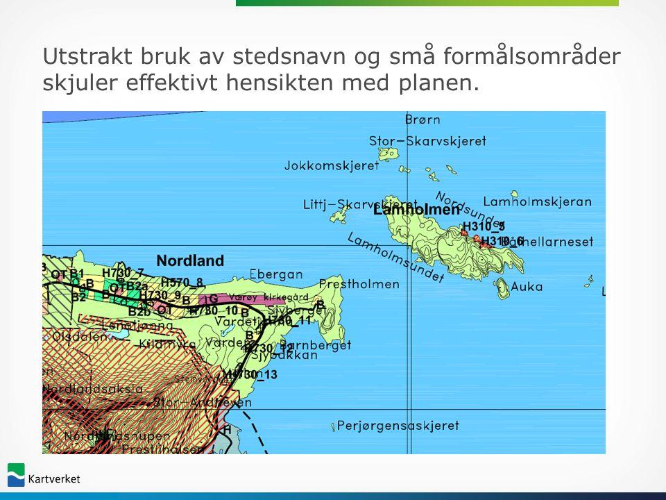 Eksempel fra Vefsn på kart med god lesbarhet selv om det er mange hensynssoner og formål på lite område!