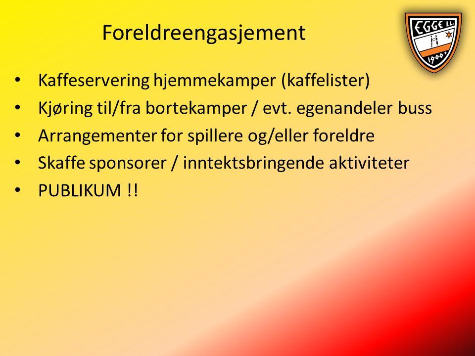 Foreldreengasjement Kaffeservering hjemmekamper (kaffelister) Kjøring til/fra bortekamper / evt.