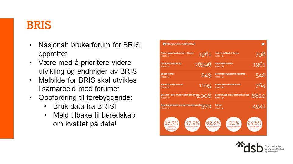 BRIS Nasjonalt brukerforum for BRIS opprettet Være med å prioritere videre utvikling og endringer av BRIS Målbilde for BRIS skal utvikles i samarbeid med forumet Oppfordring til forebyggende: Bruk data fra BRIS.