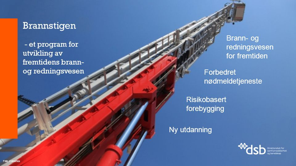 Brannstigen - et program for utvikling av fremtidens brann- og redningsvesen Brann- og redningsvesen for fremtiden Forbedret nødmeldetjeneste Risikobasert forebygging Ny utdanning Foto: Colourbox
