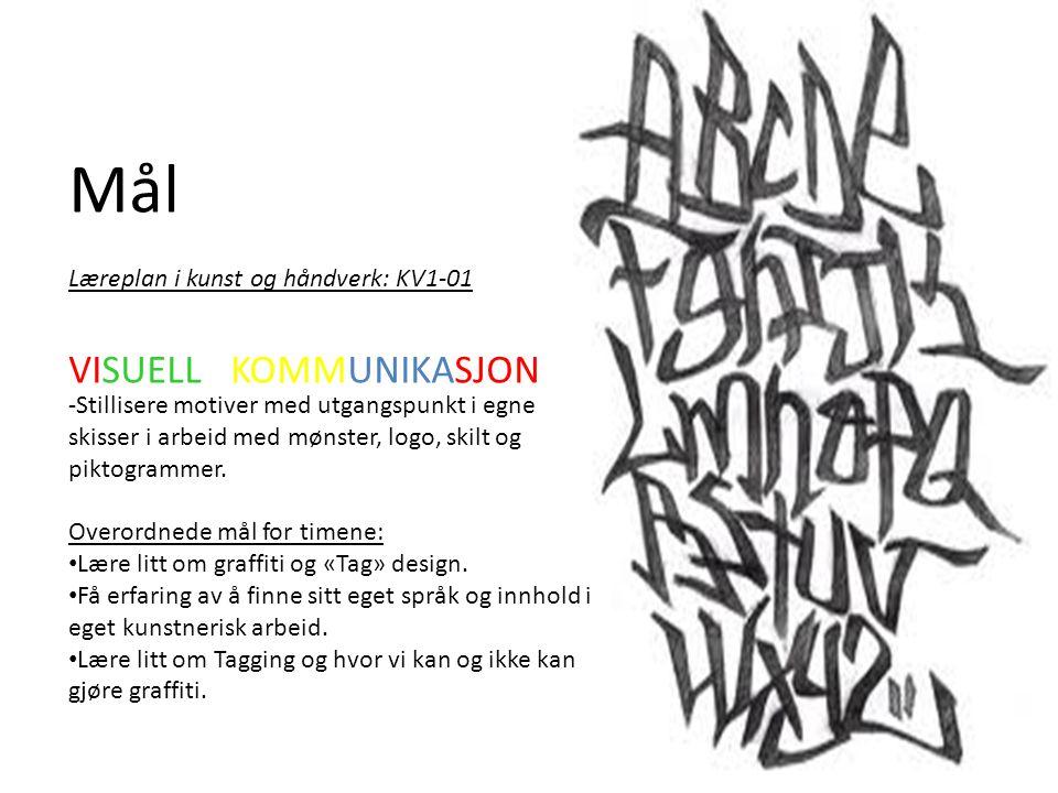 Mål Læreplan i kunst og håndverk: KV1-01 -Stillisere motiver med utgangspunkt i egne skisser i arbeid med mønster, logo, skilt og piktogrammer.