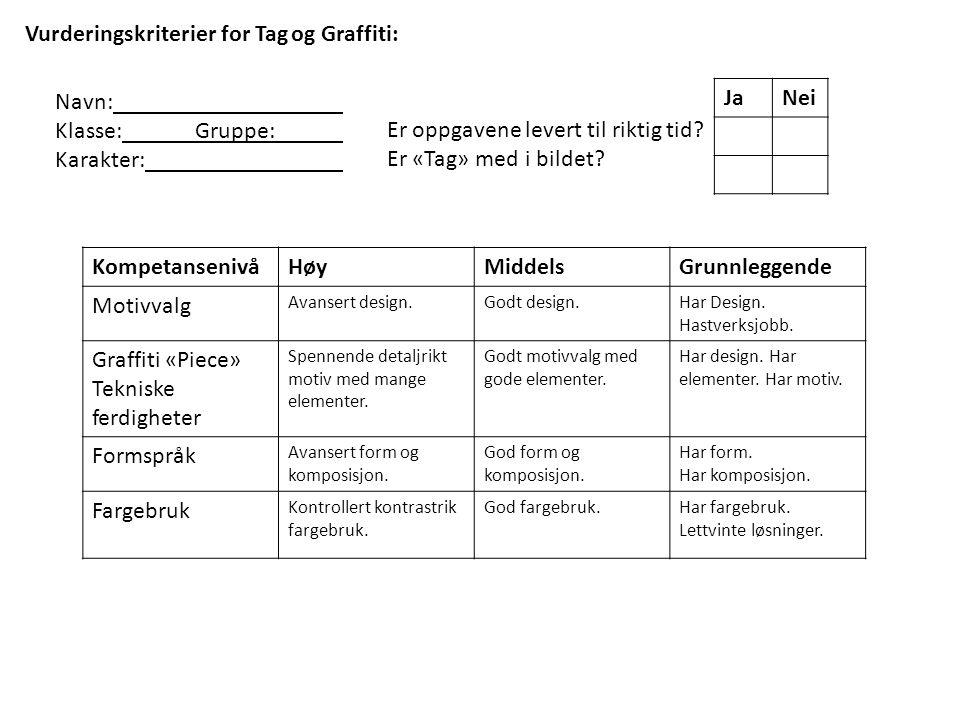 Vurderingskriterier for Tag og Graffiti: Navn: Klasse: Gruppe: Karakter: Er oppgavene levert til riktig tid.
