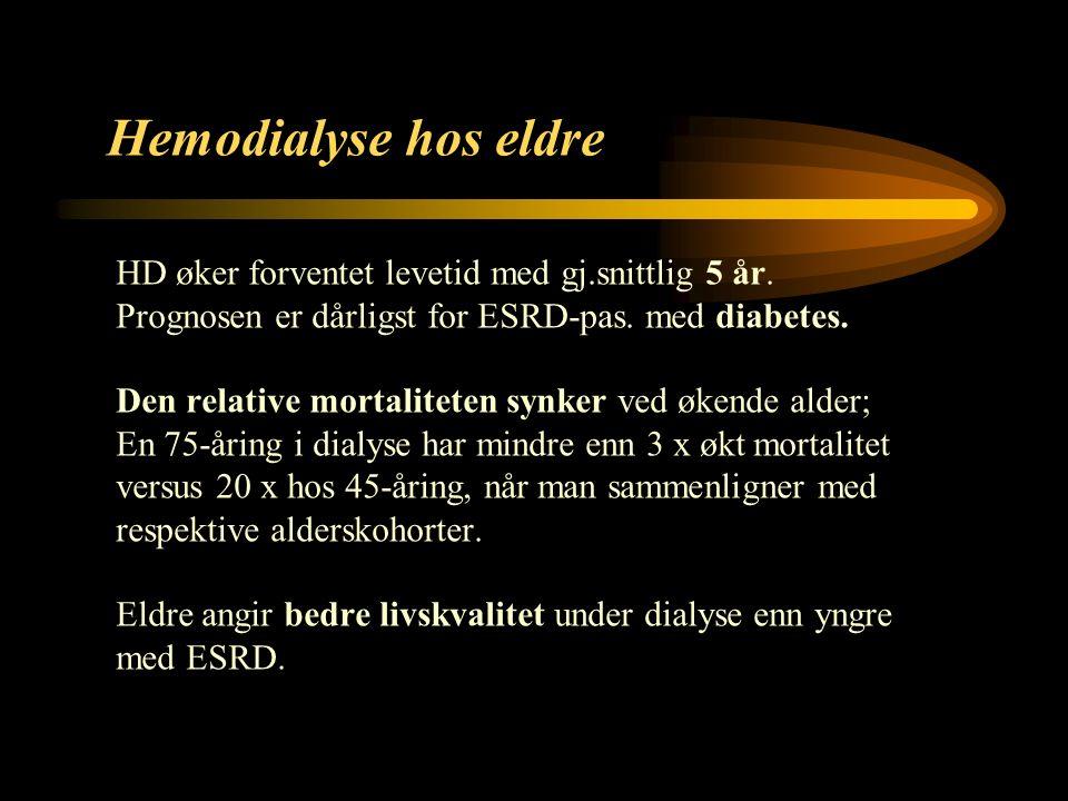 10 Hemodialyse hos eldre HD øker forventet levetid med gj.snittlig 5 år.