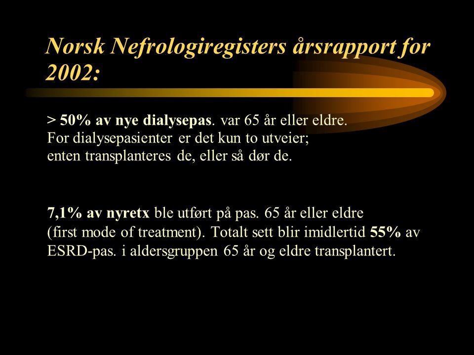 9 Norsk Nefrologiregisters årsrapport for 2002: > 50% av nye dialysepas.