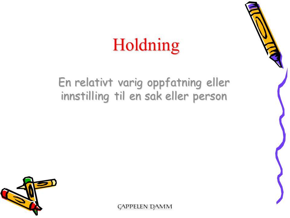 Holdning En relativt varig oppfatning eller innstilling til en sak eller person