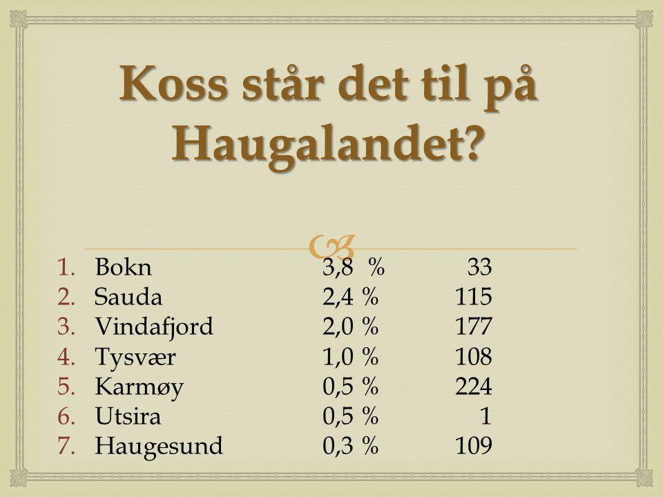  Koss står det til på Haugalandet? 1.Bokn3,8 % 33 2.Sauda2,4 %115 3.Vindafjord2,0 %177 4.Tysvær1,0 %108 5.Karmøy0,5 %224 6.Utsira0,5 % 1 7.Haugesund0