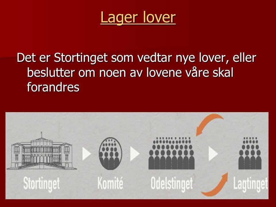 Lager lover Lager lover Det er Stortinget som vedtar nye lover, eller beslutter om noen av lovene våre skal forandres
